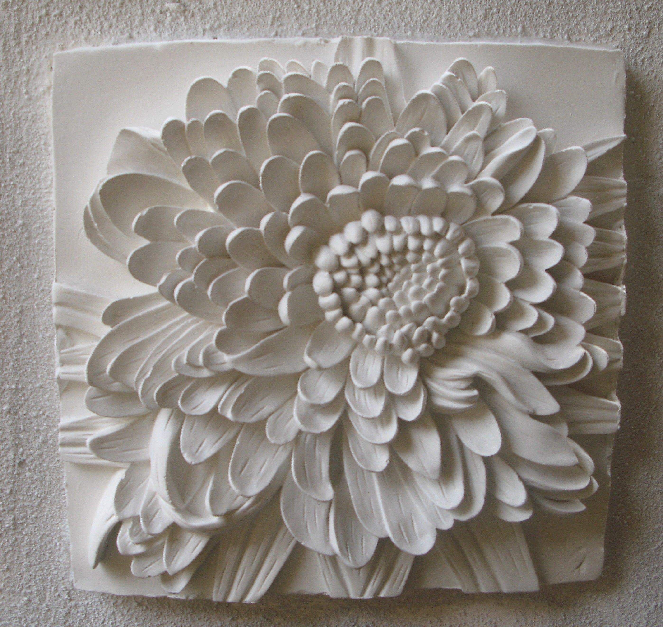 Chrysanyhemum 3d Sculptural Art On Canvas Plaster Art Drywall Art Ceramic Flowers