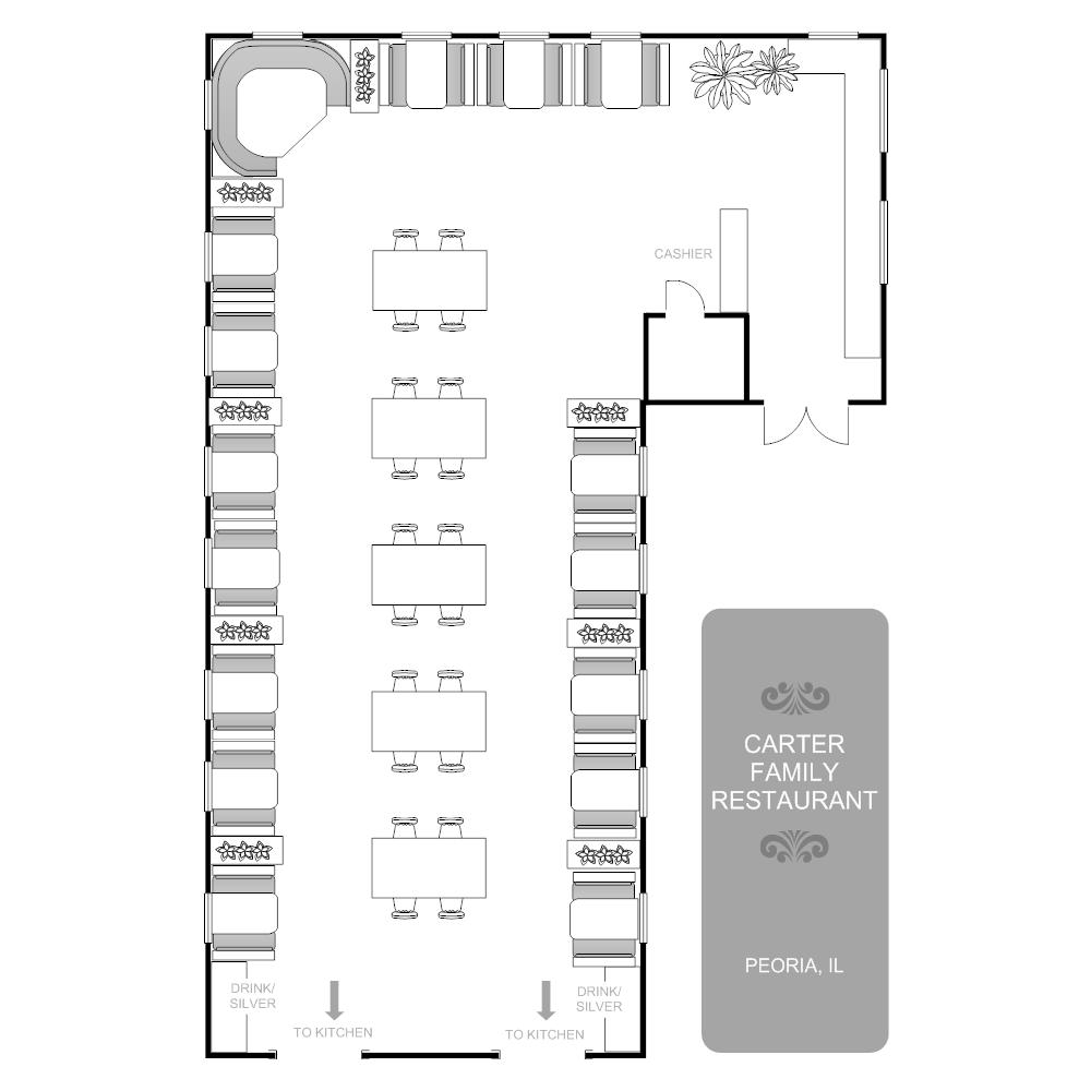 Restaurant floor plans templates - Create Floor Plan Examples Like This One Called Restaurant Floor Plan From Professionally Designed Floor Plan Templates Simply Add Walls Windows Doors