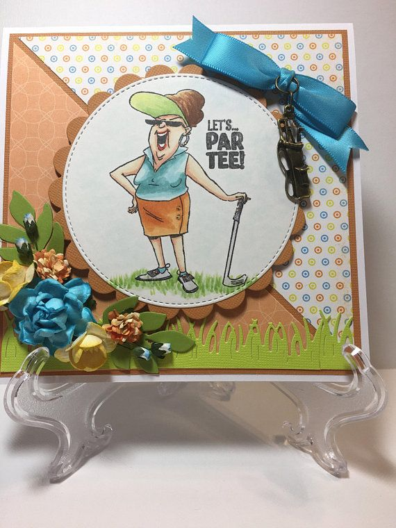 Birthday Card For Her Fancy Handmade Greeting 3D Lets Parr Tee Golf Woman Golfer