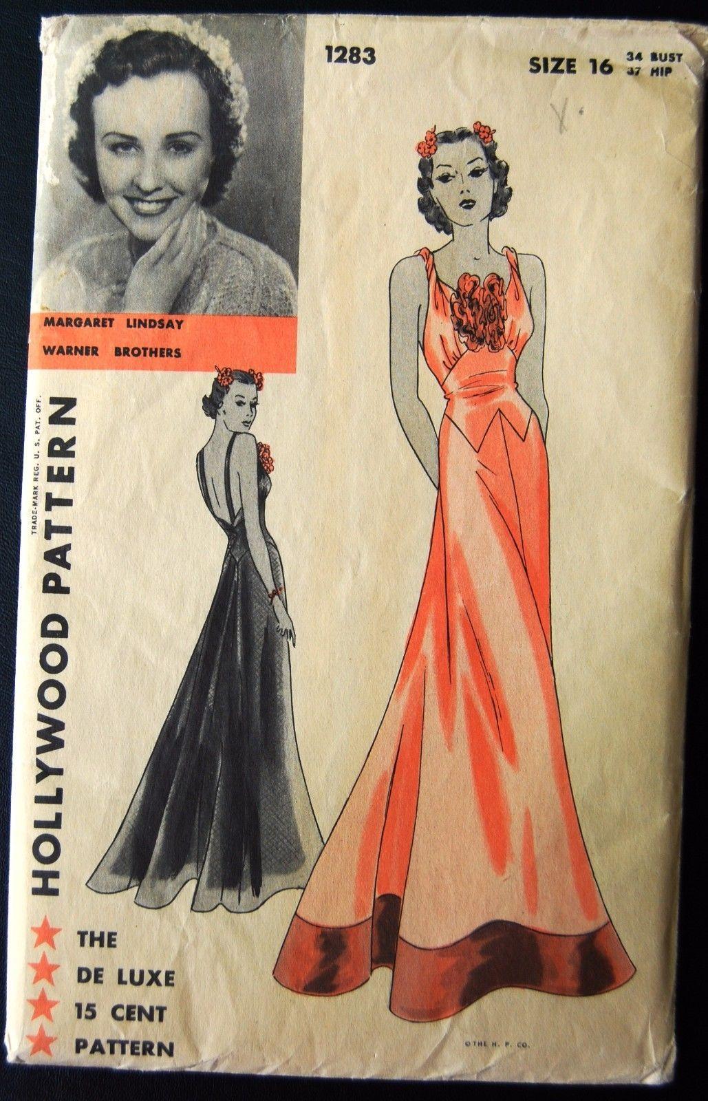 Vintage Original Hollywood 30\'s Evening Dress Pattern No 1283 | eBay ...