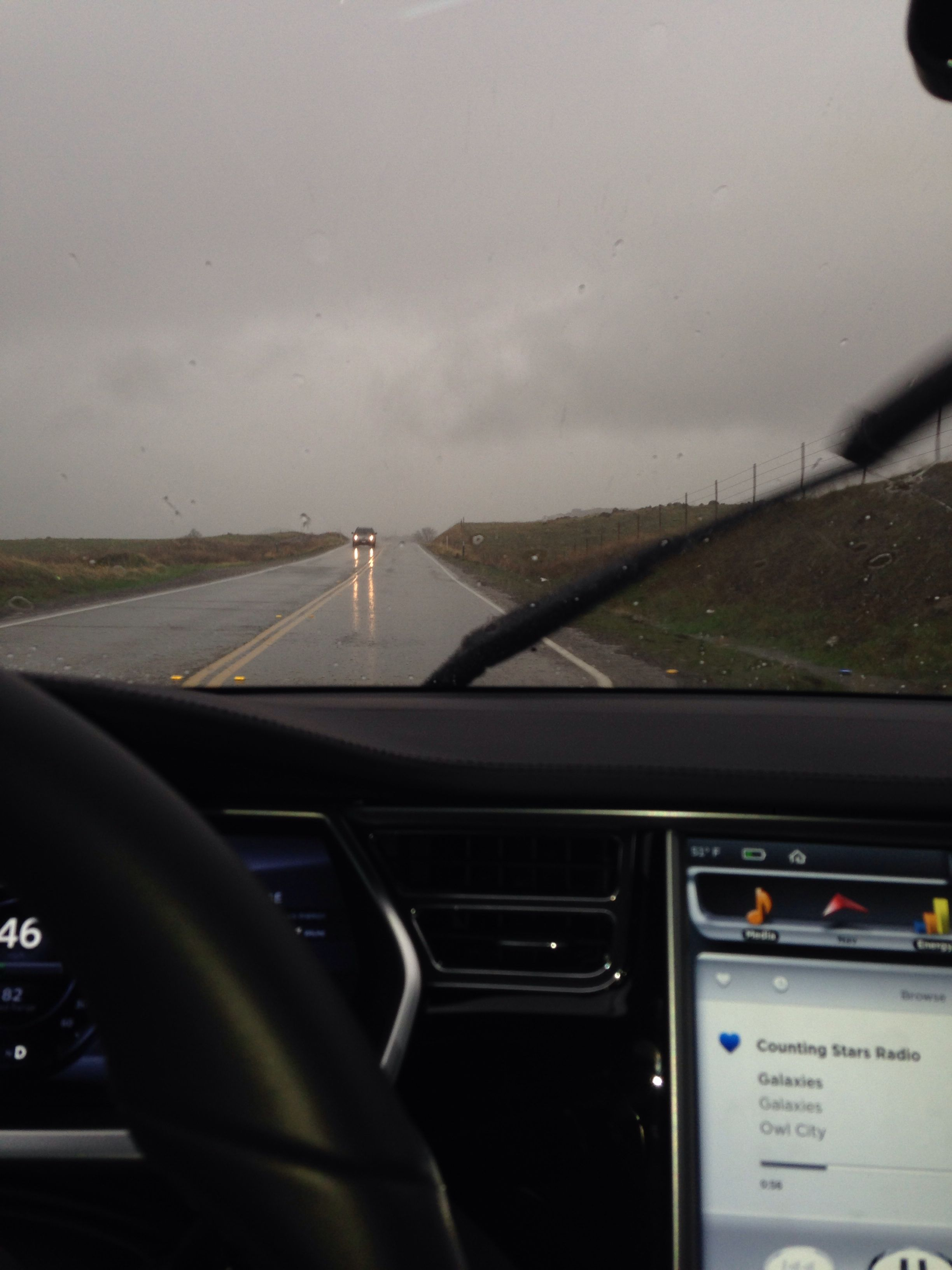 Finally Rain in California  Perfect Handling from my Tesla