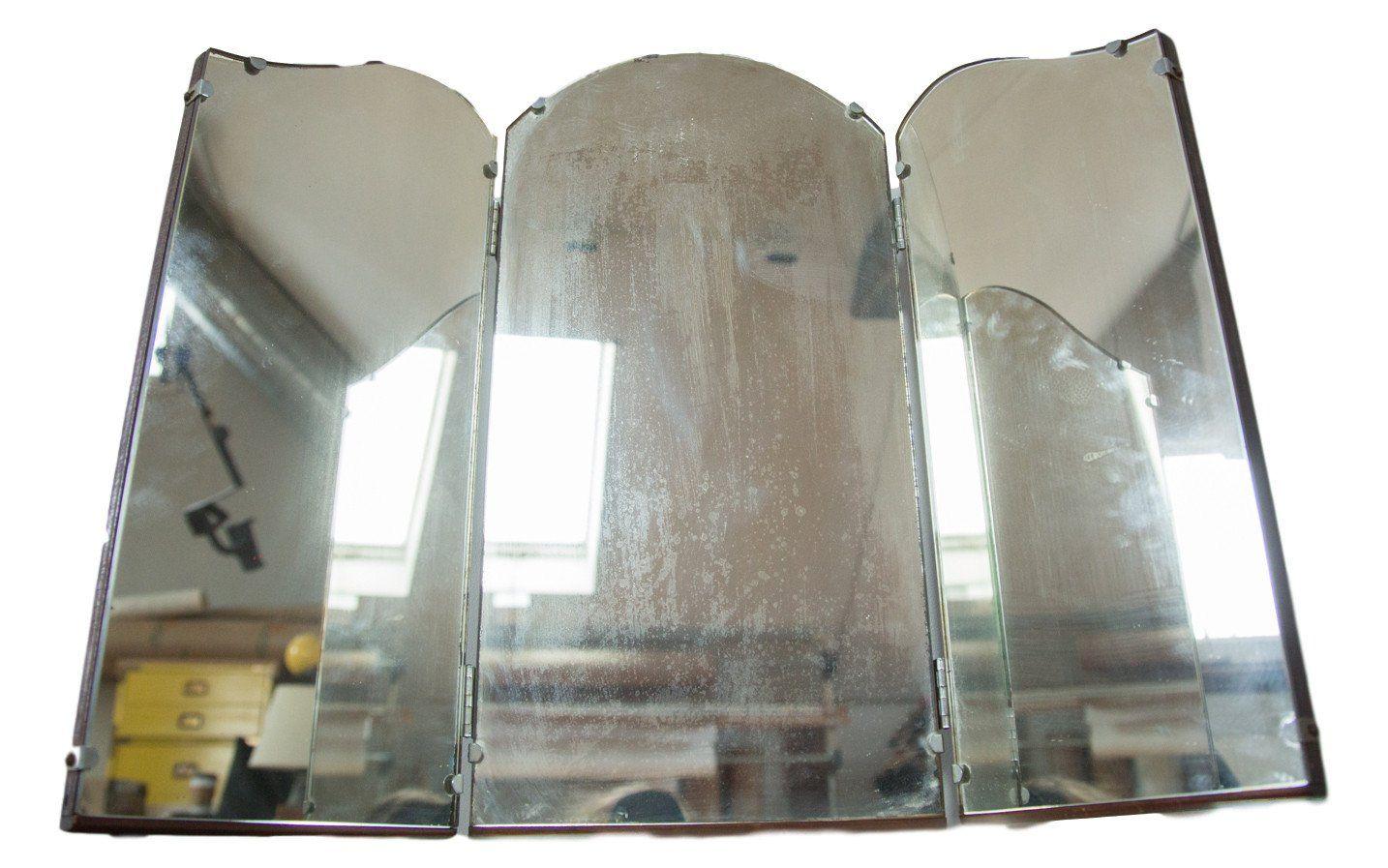 Antique Tri Folding Wooden Mirror