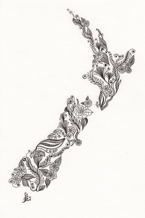 6def6f956 New Zealand Patterned Art Drawing 8x10 Print by ArtbyTheLittleLeaf, $18.00  Map Tattoos, Love Tattoos
