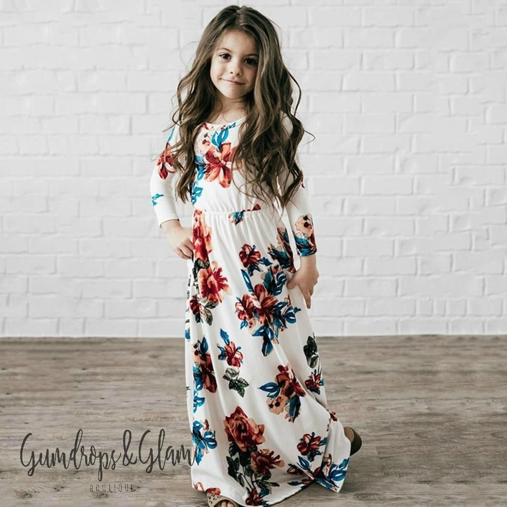 Long Floral Dress  Girls maxi dresses, Floral dresses long, Half