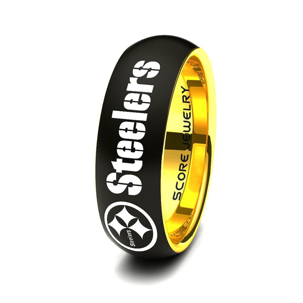 Football Ring Steelers Ring Steelers Jewelry Black Tungsten Ring Black Tungsten Wedding Band Football Jewelry Black Wedding Ring In 2020 Steelers Rings Steelers Jewelry Black Tungsten Wedding Band