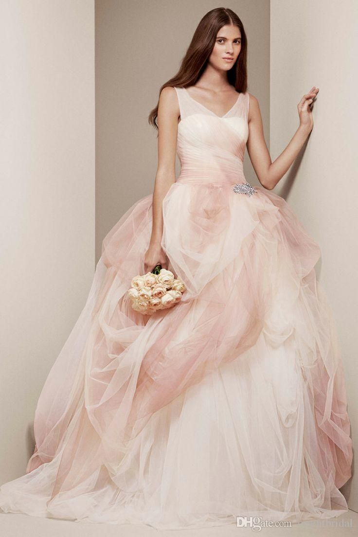 Cheap 2015 Most Beautiful Wedding Dresses V Neck Blush And White Cap Sleeve Tulle Bridal Gown Ruched Bodice Draped Bride Dress Sweep Train As Low 16985