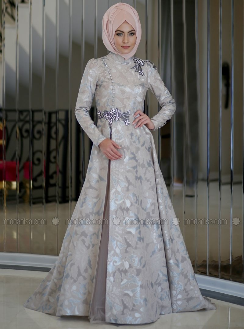 5c66dce5e72f1 Silver tone - Fully Lined - Crew neck - Muslim Evening Dress - Minel Aşk