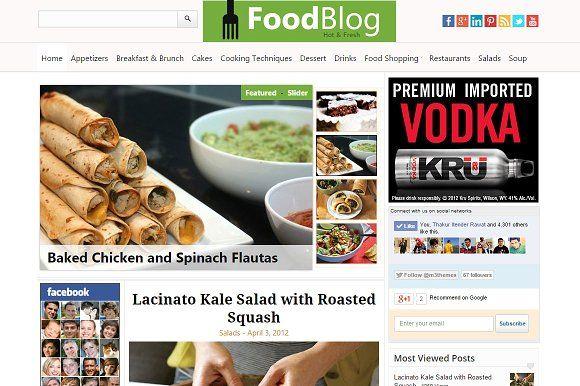 foodblog food recipe wp theme blog templates free wordpress