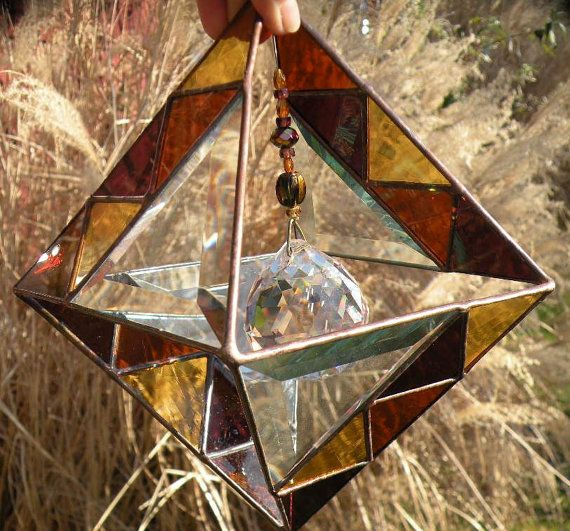 3D Beveled Geometric Stained Glass Suncatcher With Amber