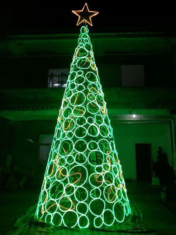 Outdoor Large Green Light Neon Christmas Tree Outdoor Christmas Tree Outdoor Christmas Tree Decorations Christmas Light Installation