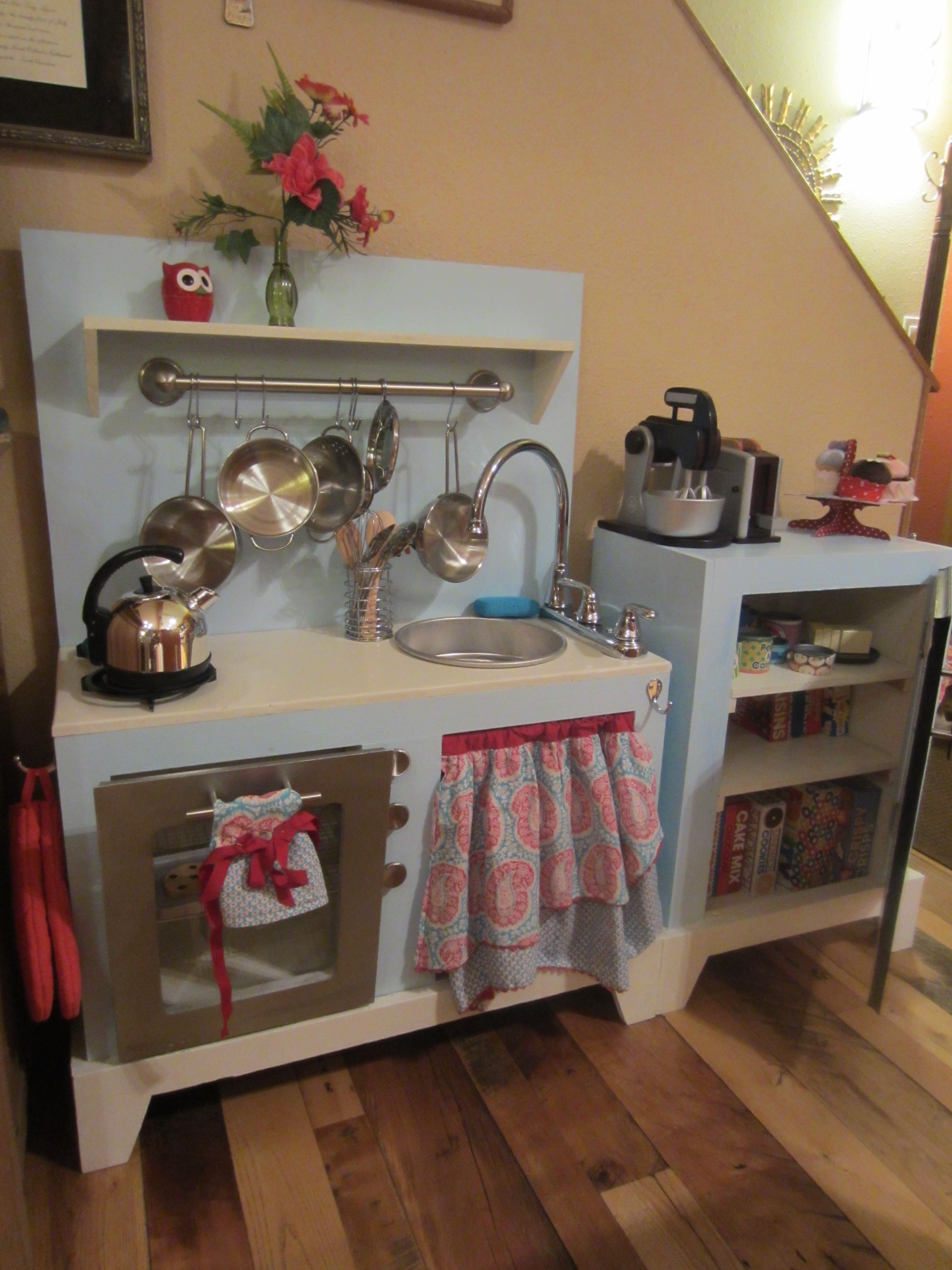 Spray paint for kitchen cupboards  DIY Play Kitchen Created from reclaimed kitchen cabinets recycled
