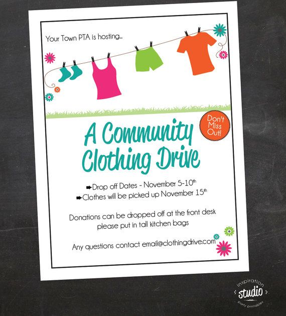 Clothing Drive School Church Or Organization Custom Flyer Black And White Color Pta Pto