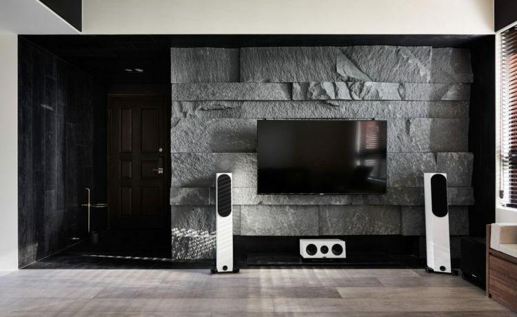 Wohnzimmer Steinwand Akzentwand Fernseher Naturstein #wandverkleidung #wall  #livingroom