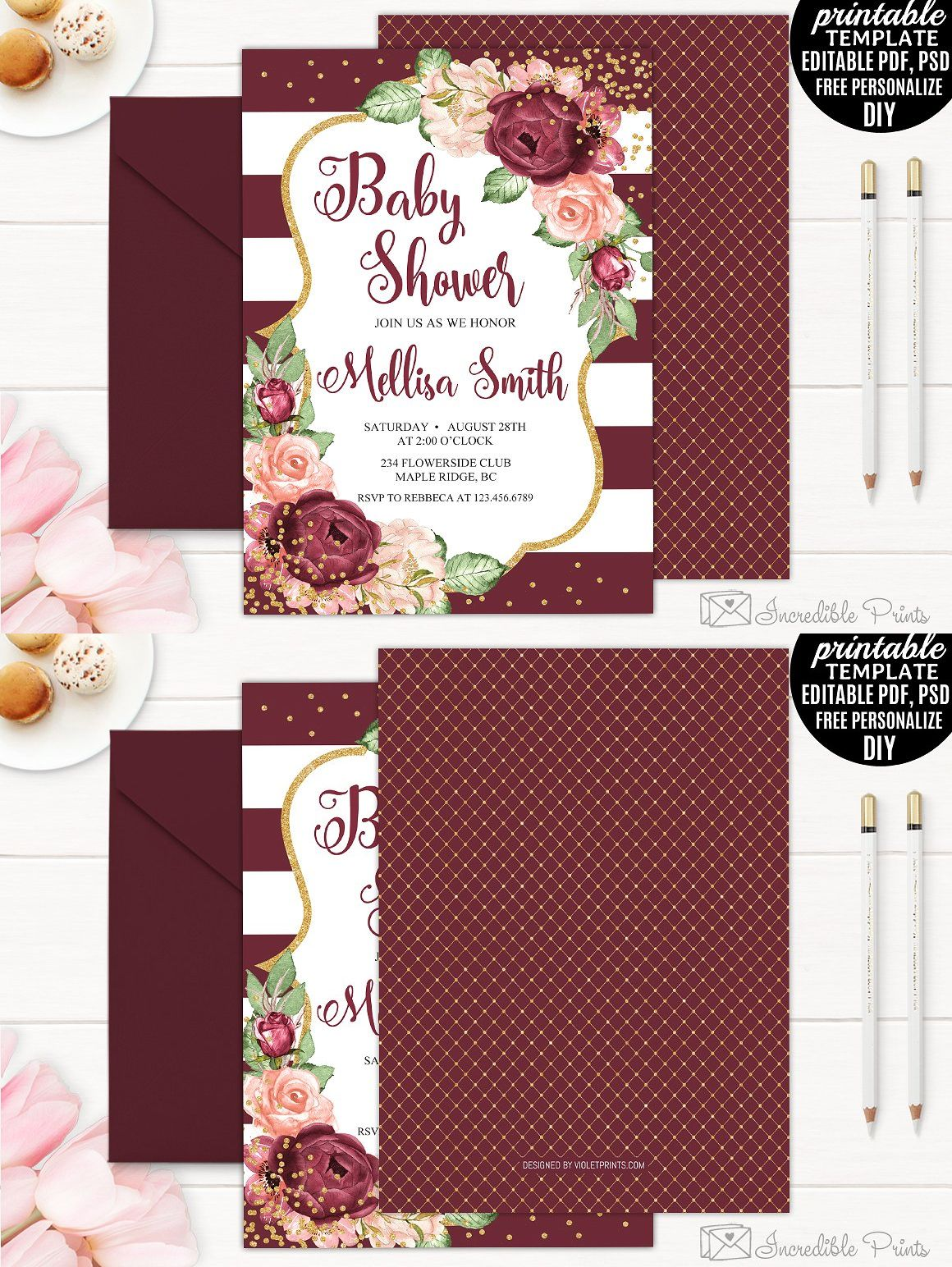 Bohemian Baby Shower Invitation Template PSD