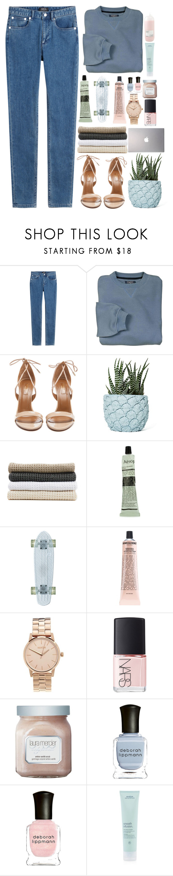 """""""""""You only live once, but if you do it right, once is enough."""""""" by dzchocolatess ❤ liked on Polyvore featuring A.P.C., Aquazzura, Chen Chen & Kai Williams, Abyss & Habidecor, Aesop, Samsung, Grown Alchemist, Nixon, NARS Cosmetics and Laura Mercier"""