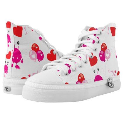 #Red Pink Heart Valentine Cute Monster Love Gift High-Top Sneakers - #womens #shoes #womensshoes #custom #cool