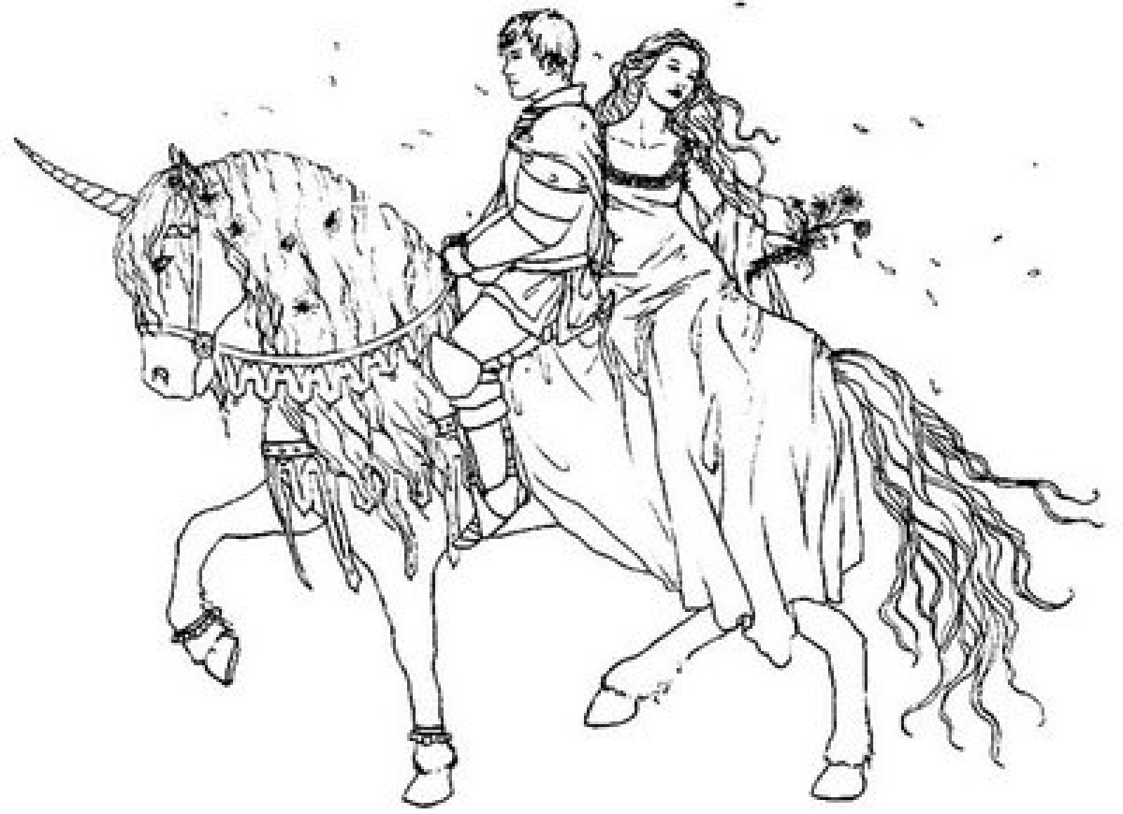 Free coloring horse pictures to print - Prince And Princess On Horse Printable Coloring Pages