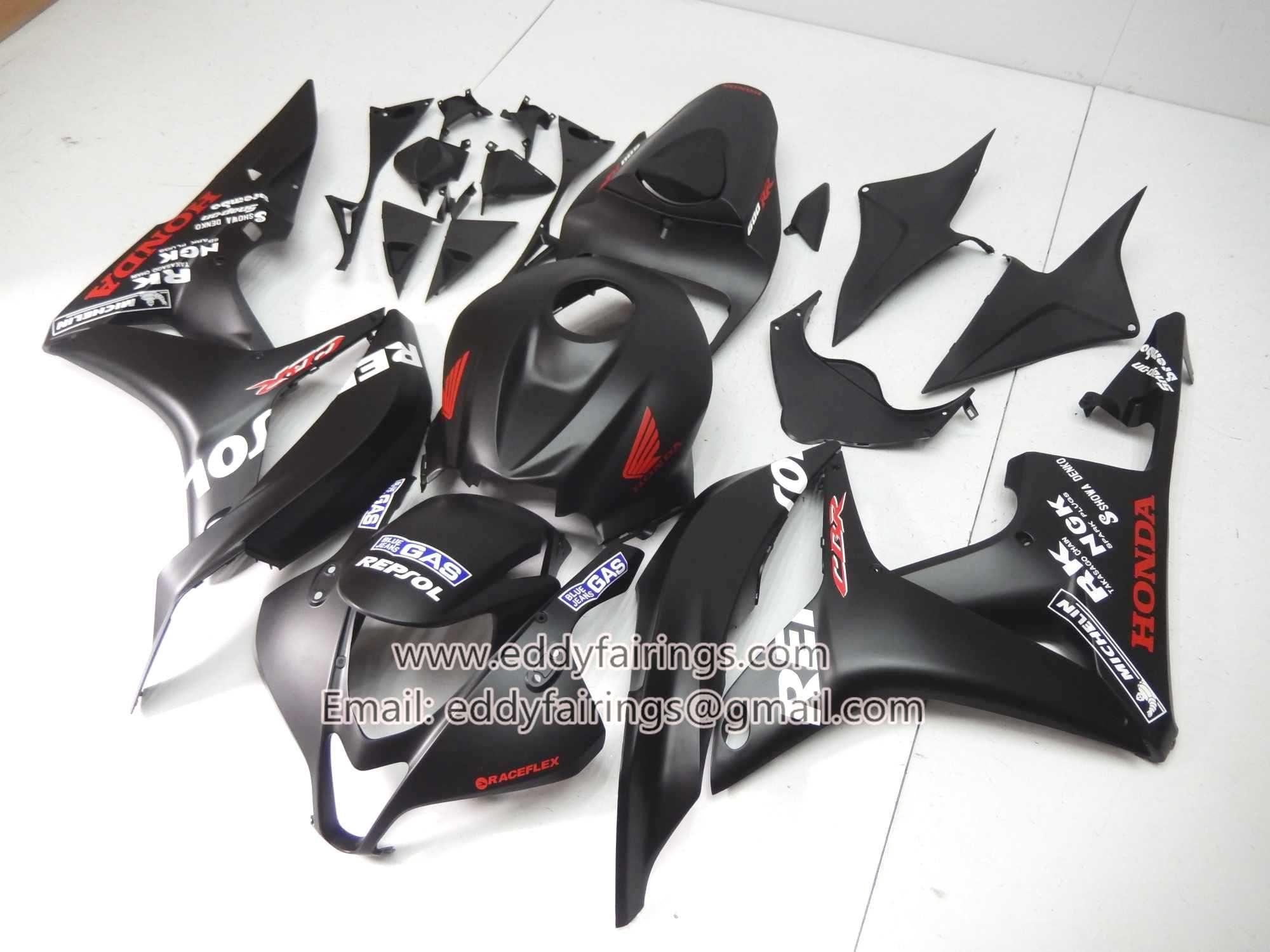 Honda Matte Black Repsol 2007 2008 Cbr600rr Motorcycle Fairing Kit
