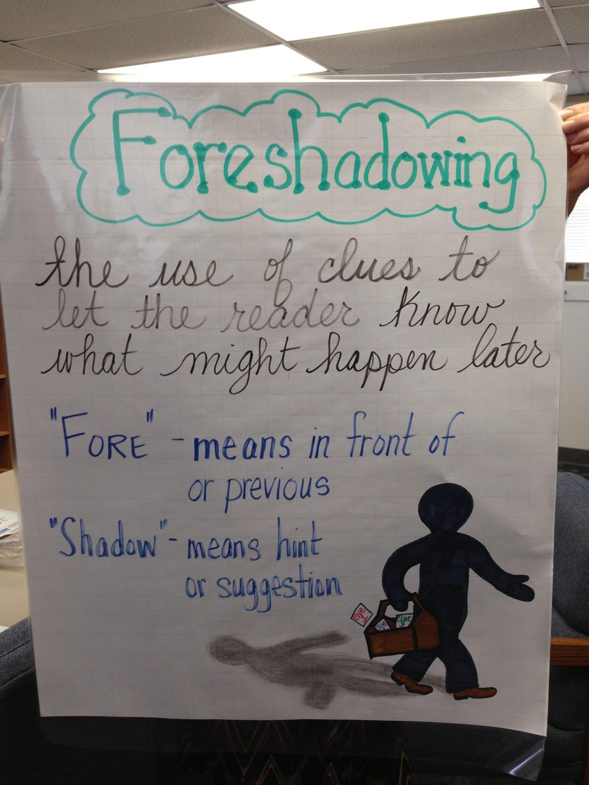 medium resolution of Foreshadowing Worksheet Middle School foreshadowing Anchor Chart   Anchor  charts