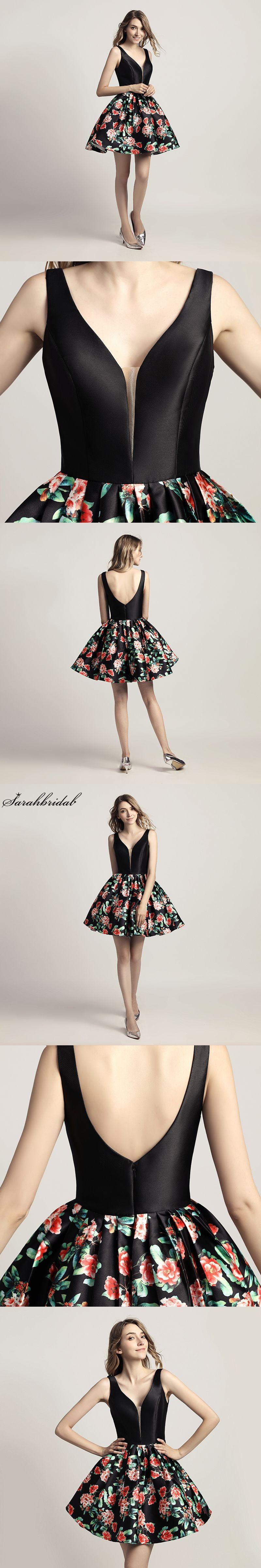 New arrivals floral print short prom dresses with v neck