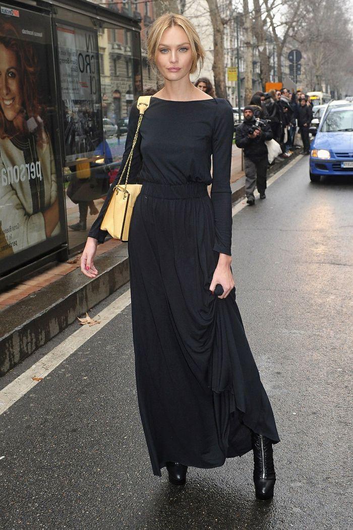 robe longue été, sac jaune, bottes noires, chignon bas, robe fluide  élégante casual 789036fbf31e