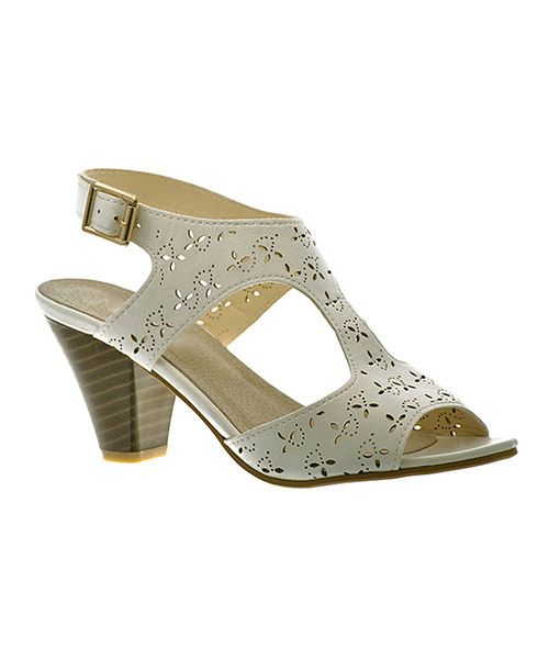 Another great find on #zulily! White Flower Cutout Sandal by SandysMiami #zulilyfinds