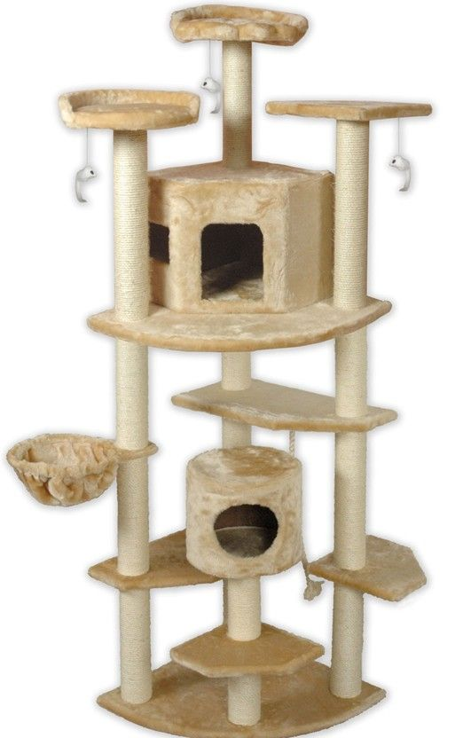Multi Level Large Cat Tree   Give Your Kitties Their Very Own Castle With  The Go Pet Club Cat Tree   Beige   80 Inch .