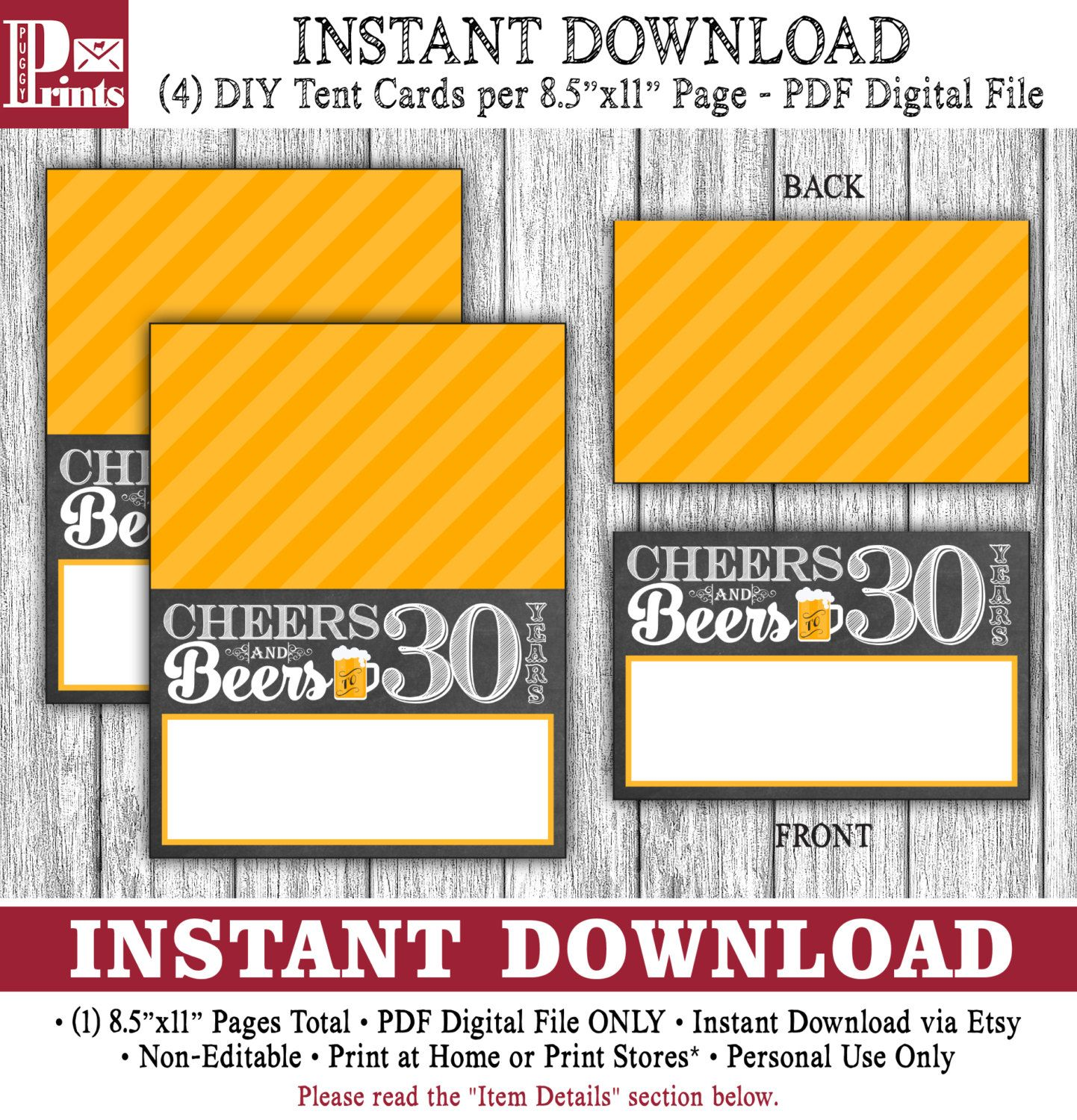 Cheers and beers to 30 years tent cards buffet cards food labels cheers and beers to 30 years tent cards buffet cards food labels place cards printable digital file instant download bookmarktalkfo Image collections
