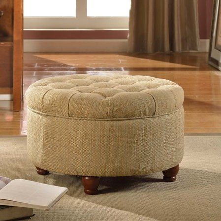 Nussbaum Round Button Upholstered Storage Ottoman & Nussbaum Round Button Upholstered Storage Ottoman | living room ...