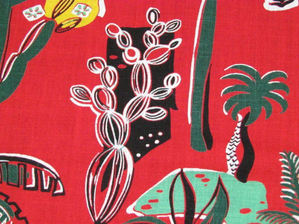 Moroccan Art Deco Vintage 40s 50s Barkcloth Era Fabric Panel