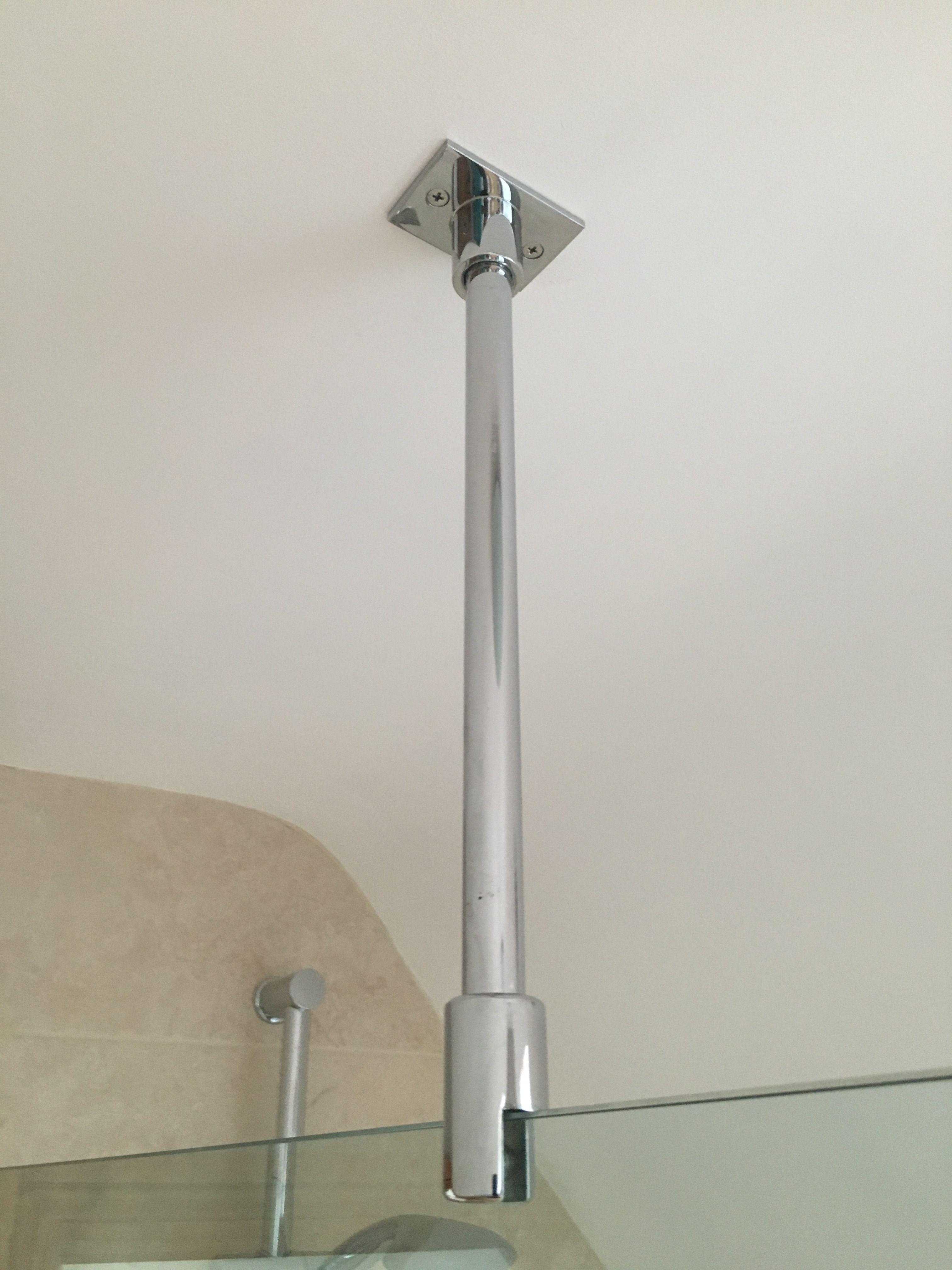 Shower Support Bar Ceiling In Chrome Glass Shower Wall Custom