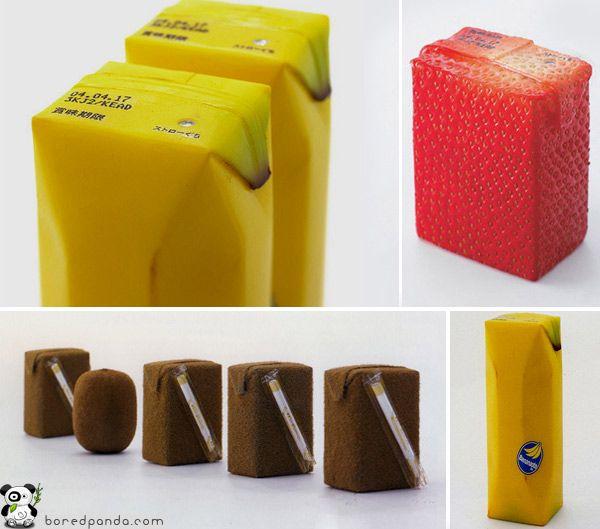 Fruitsap in een fruitige verpakking. De verpakking in de vorm van fruit zoals een banaan, kiwi, aardbei,... laat zien welke smaak het is of welk fruitsap.