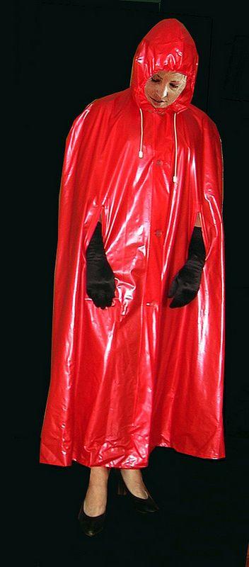 schwarze handschuhe und rotes pvc cape anziehsachen 1 regenmantel pvc regenmantel und mantel. Black Bedroom Furniture Sets. Home Design Ideas