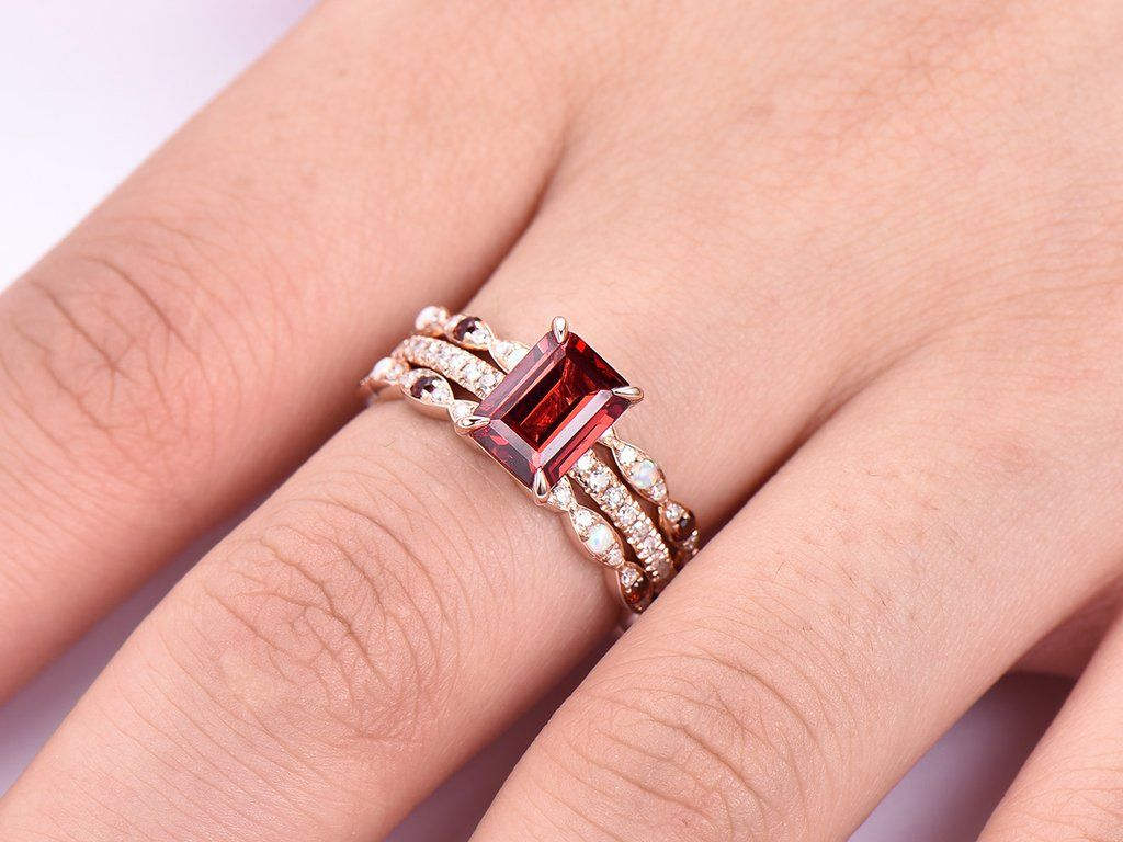 Emerald Cut Garnet Ring Trio Sets Opal/Garnet Matching Bands 14K ...