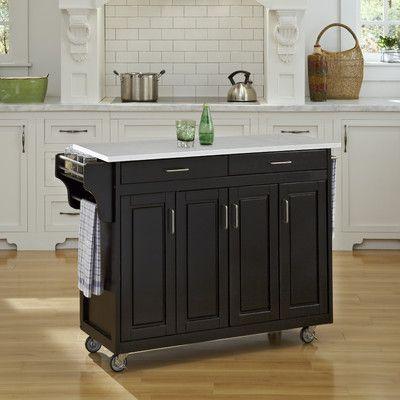 August Grove Regiene Kitchen Cart With Quartz Top Base Finish Black Kitchen Island On Wheels Kitchen Cart Kitchen Tops Granite