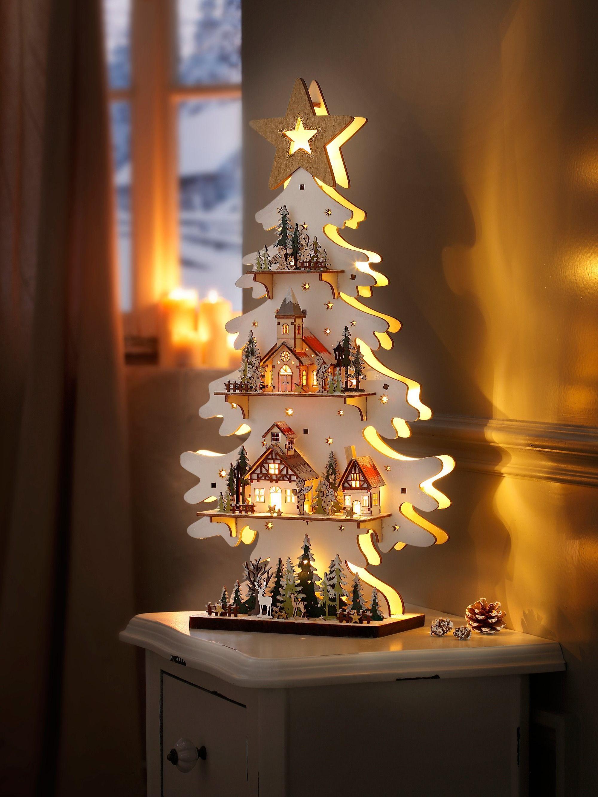 """LED Tannen """"Engelszene"""" mit Spieluhr Eine klingende, strahlende Winterwelt aus …,…"""