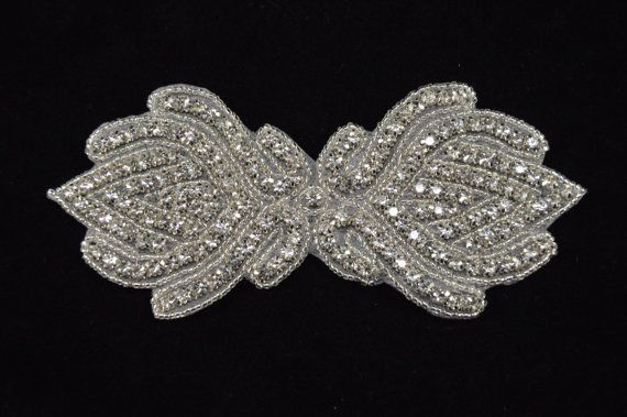 Rhinestone Applique Bridal Applique  Wedding Applique Sash Applique bouquet handle- WPH-245 $8 + $2.95 shipping
