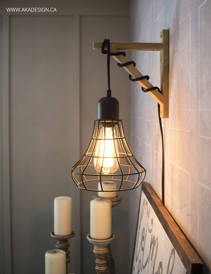 Hanging Cage Light From A Plug In Light And A Wood Bracket Cage Light Elegant Bedroom Diy Home Decor