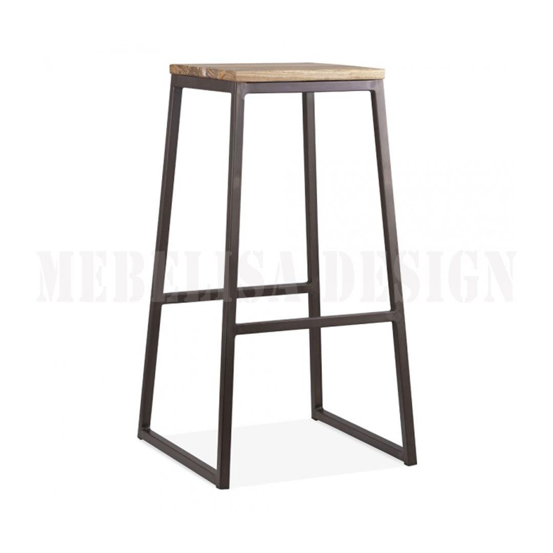 Casual Bar Stools Solid Wood Metal Steel Recycle Teak Wood Mebel Kursi Stool