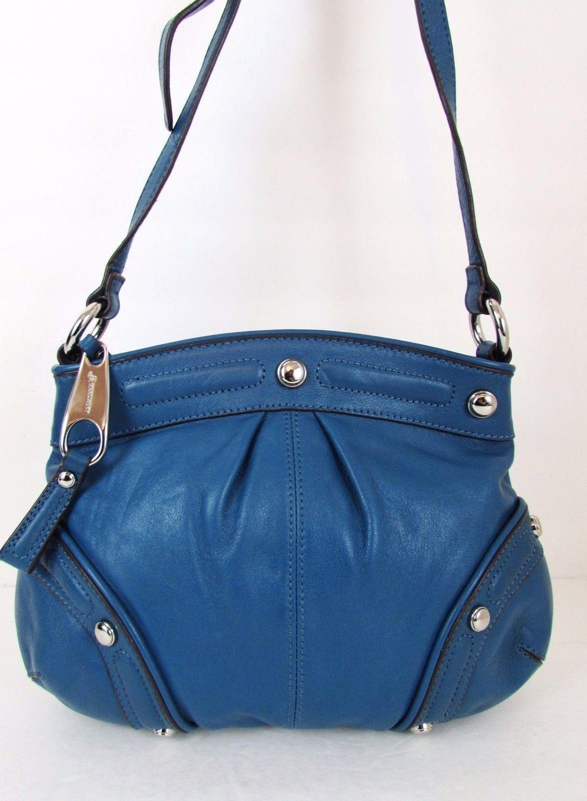 B Makowsky Blue Leather Shoulder Bag Ebay
