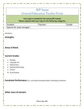 IEP Parent & Teacher Input Forms | ~Middle School-SPED ...