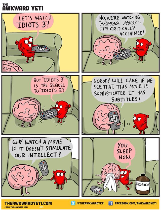 Heart Vs Brain Funny Webcomic Shows Constant Battle Between Our Intellect And Emotions Awkward Yeti Heart And Brain Comic Funny Meme Pictures