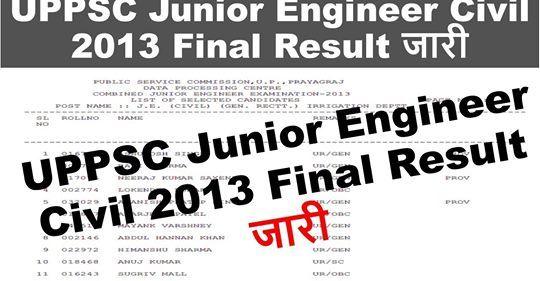 UPPSC Junior Engineer Civil 2013 Result in 2020
