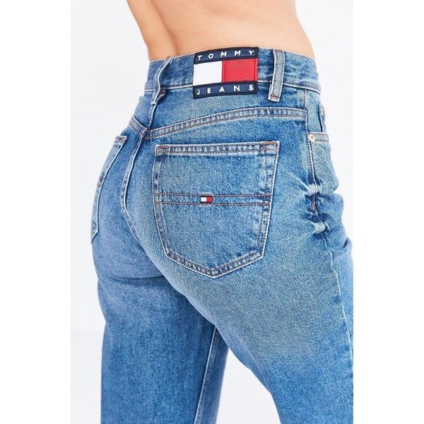 c38cae56c Tommy Hilfiger 90s Jeans High Waist Washed Out Blue Jeans Worn In... (200  PLN) ❤ liked on Polyvore featuring jeans, vintage jeans,…