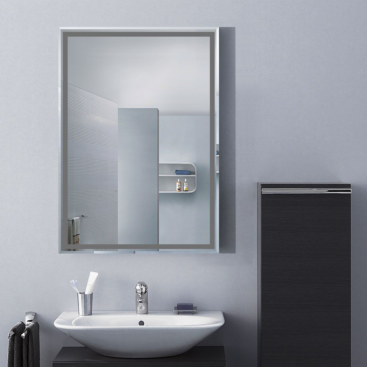 Decoraport 28 20 Frameless Wall Mounted Bathroom Silvered Mirror Rectangle Vertical Vanity Mirror A C22 Floating Shelves Bathroom Led Mirror Bathroom Mirror