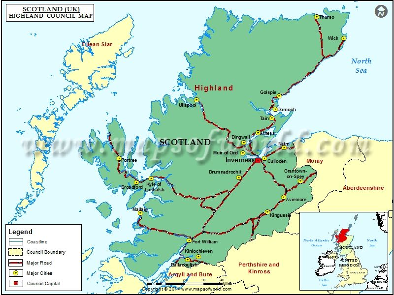 Map Of Uk Highlands.Map Of Highland Council Scotland Scottish Highlands Map
