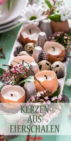 Tischdekoration selber machen: Deko-Tipps zu Ostern: Kerzen aus Eierschalen