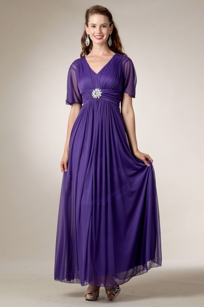 Formal Long Dress with Short Sleeves Broach Pleated Plus Size Mother ...