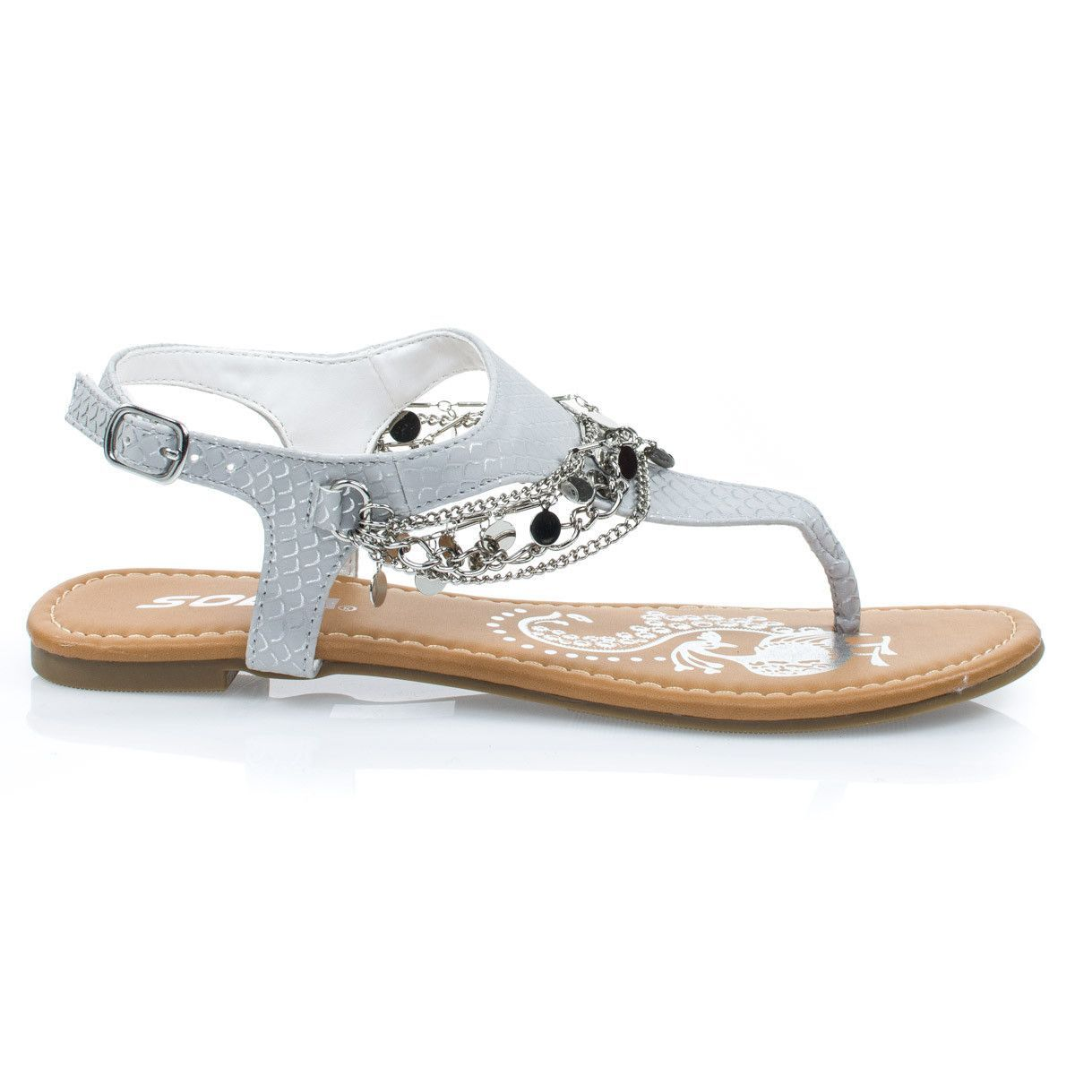 583af3e19  Above Silver Women s Metal Chain Flat Thong Sandal w Multi Colored Print    Sling Back Ankle Strap