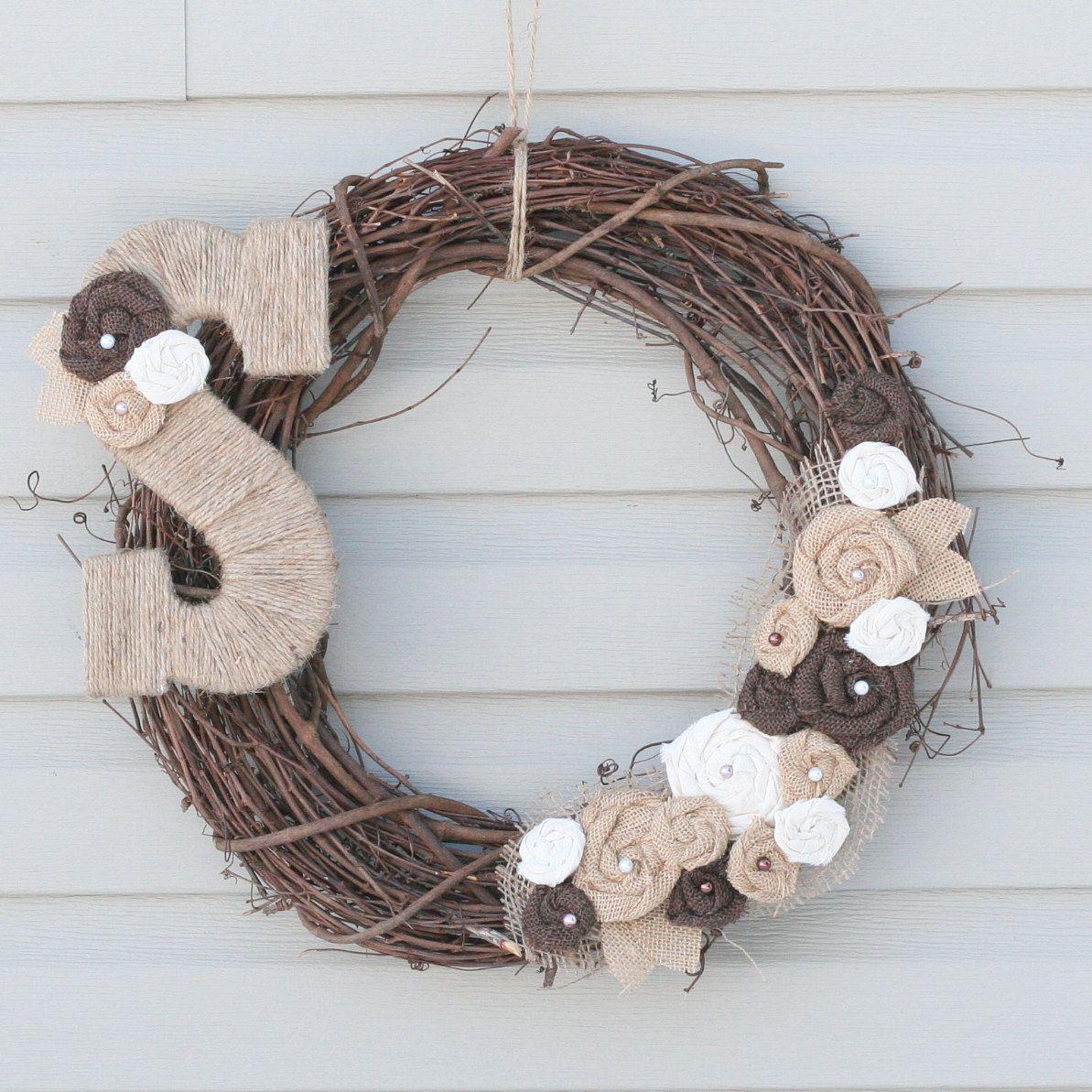 Burlap wreath with pearls and jute monogram letter diy
